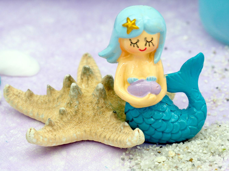 Deko Figur Meerjungfrau Tischdeko Kindergeburtstag Nymphe Türkis Blau 3 Stück Party
