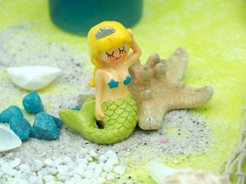 Deko Figur Meerjungfrau Tischdeko Kindergeburtstag Nymphe Grün 3 Stück Party