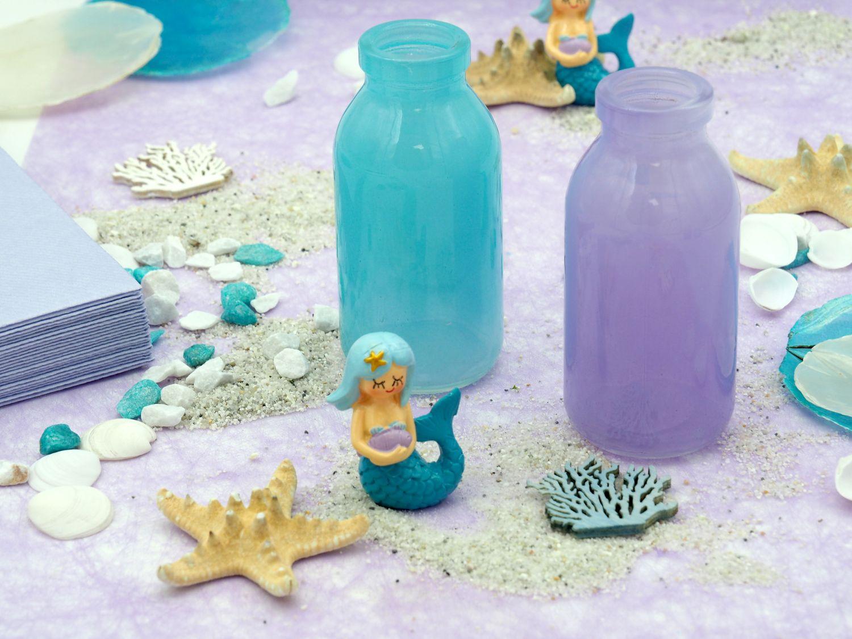 tischdeko kindergeburtstag meerjungfrau blau lila m dchen. Black Bedroom Furniture Sets. Home Design Ideas