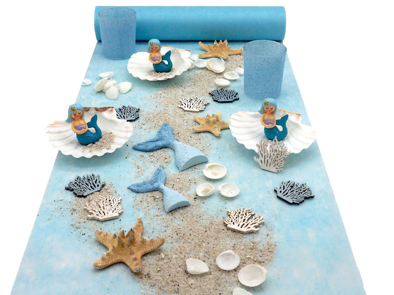 Tischdeko Kindergeburtstag Meerjungfrau Blau Mädchen Geburtstag Party Deko