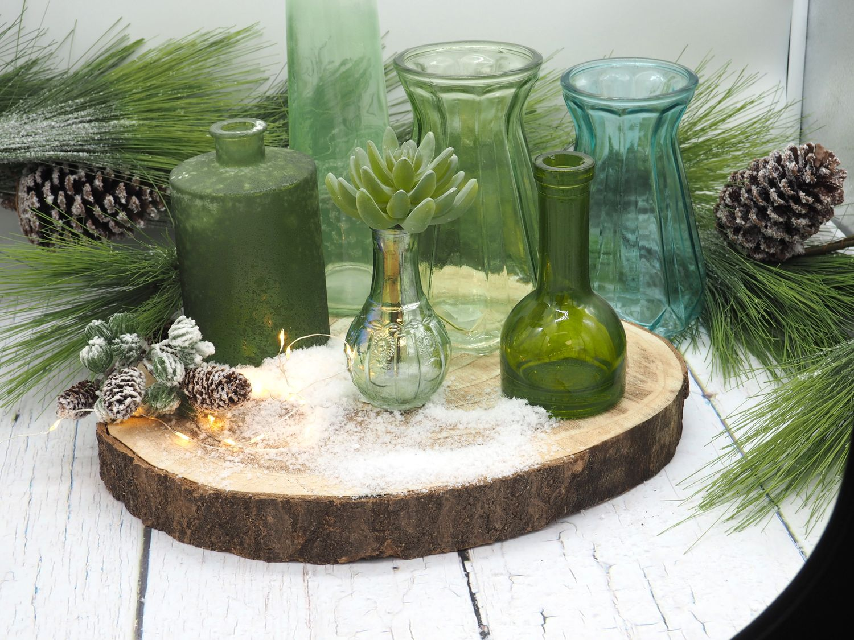 Vase Glasvase Blau Glas Blumenvase Deko Tischdeko Retro