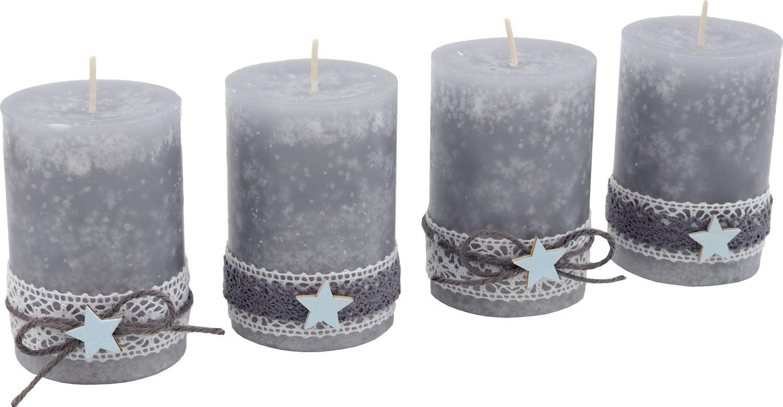 4 Adventskerzen Kerzen Stumpenkerzen Grau Stern Blau Spitze Weihnachten Advent Deko Tischdeko