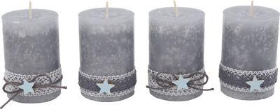 4 Adventskerzen Kerzen Stumpenkerzen Grau Stern Blau Spitze Weihnachten Advent Deko