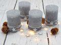 4 Adventskerzen Kerzen Stumpenkerzen Grau Stern Blau Spitze Weihnachten Advent Deko Tischdeko 4