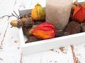 Tablett Herbst Herbstdeko Tischdeko Deko Kerze Physalis Lampionblume Holz Natur Grün Braun Gelb  3