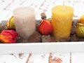 Tablett Herbst Herbstdeko Tischdeko Deko Kerze Physalis Lampionblume Holz Natur Grün Braun Gelb  5