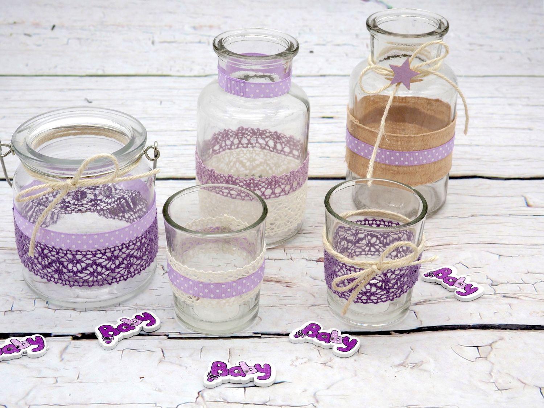 Tischdeko Vasen Teelichthalter Windlicht Lila Flieder Deko Taufe Hochzeit Geburtstag SET