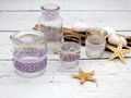Tischdeko Vasen Teelichthalter Windlicht Lila Flieder Deko Taufe Hochzeit Geburtstag SET 2