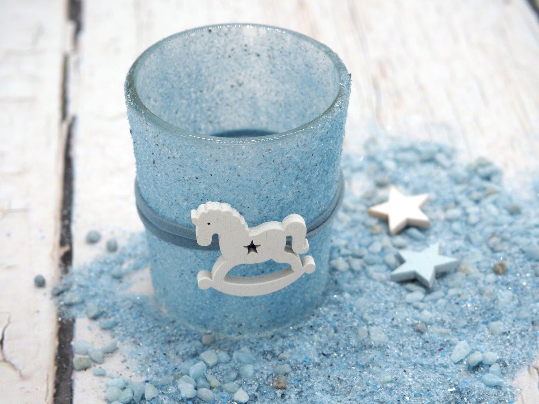 2 Teelichthalter Tischdeko Teelichtgläser Taufe Taufdeko Kerzenglas Blau Schaukelpferd Junge Baby Babyparty Partydeko