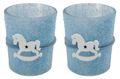 2 Teelichthalter Tischdeko Teelichtgläser Taufe Taufdeko Kerzenglas Blau Schaukelpferd Junge Baby Babyparty Partydeko 1