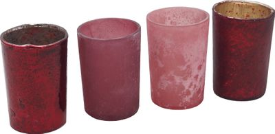 Kerzenhalter Teelichthalter Mauve Beere Glas Advent Deko Weihnachten Herbst