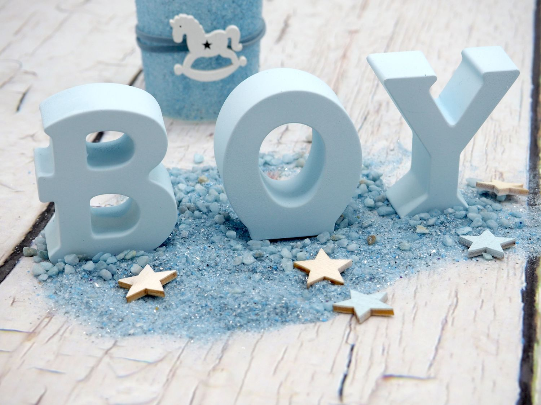 Buchstaben BOY Blau Baby Junge Geburt Taufe Tischdeko Raumdeko Deko