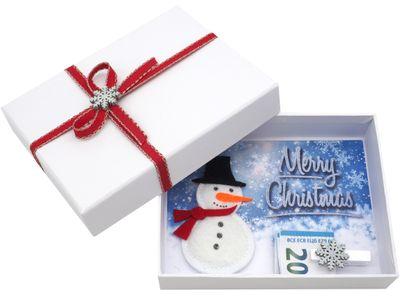 Geldgeschenk Verpackung Weihnachten XMAS Schneemann Filz Weiß Geschenk