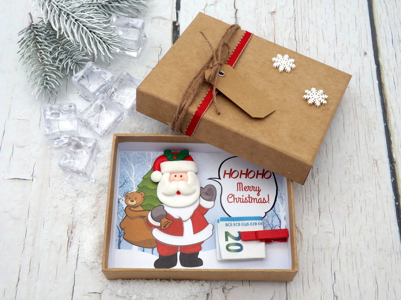 Geldgeschenk Verpackung Weihnachten XMAS Weihnachtsmann Santa Natur Geschenk Gutschein