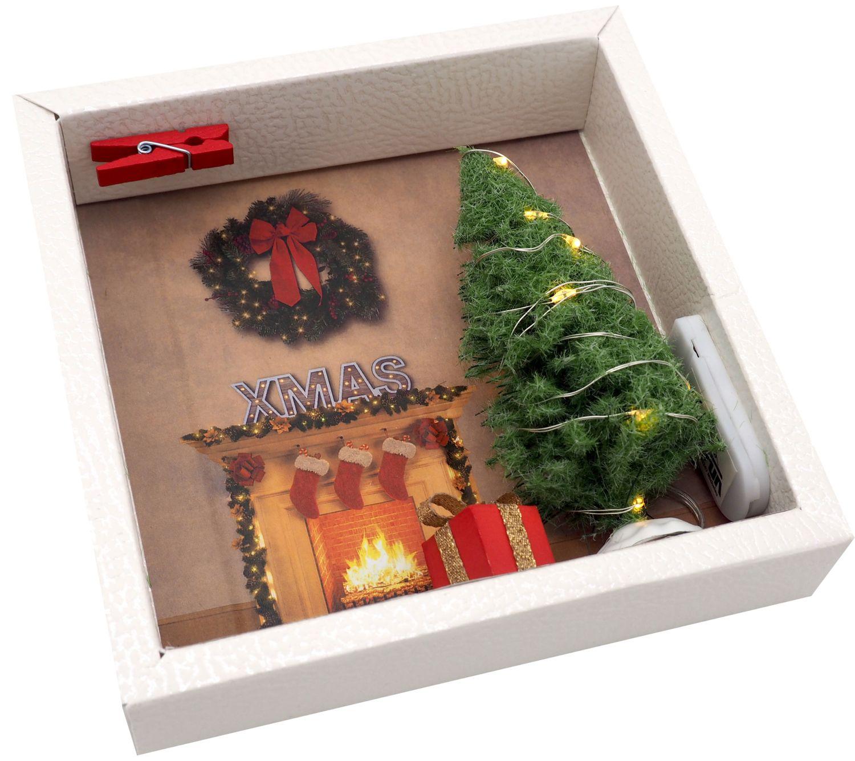 Geldgeschenk Verpackung Weihnachten XMAS Kamin Geschenk LED Lichterkette Gutschein