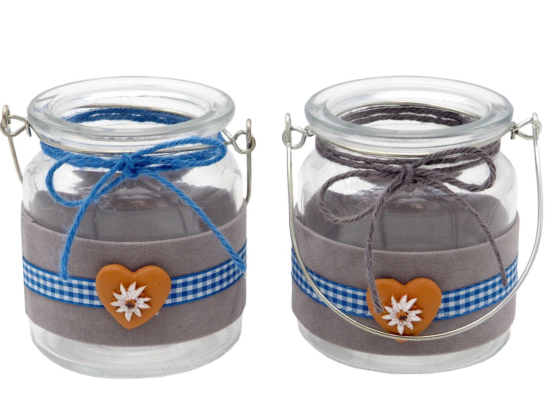 Tischdeko Oktoberfest Bayern 2 Windlichter Samt Glas Grau Blau Weiß Kariert Party Deko Biergarten