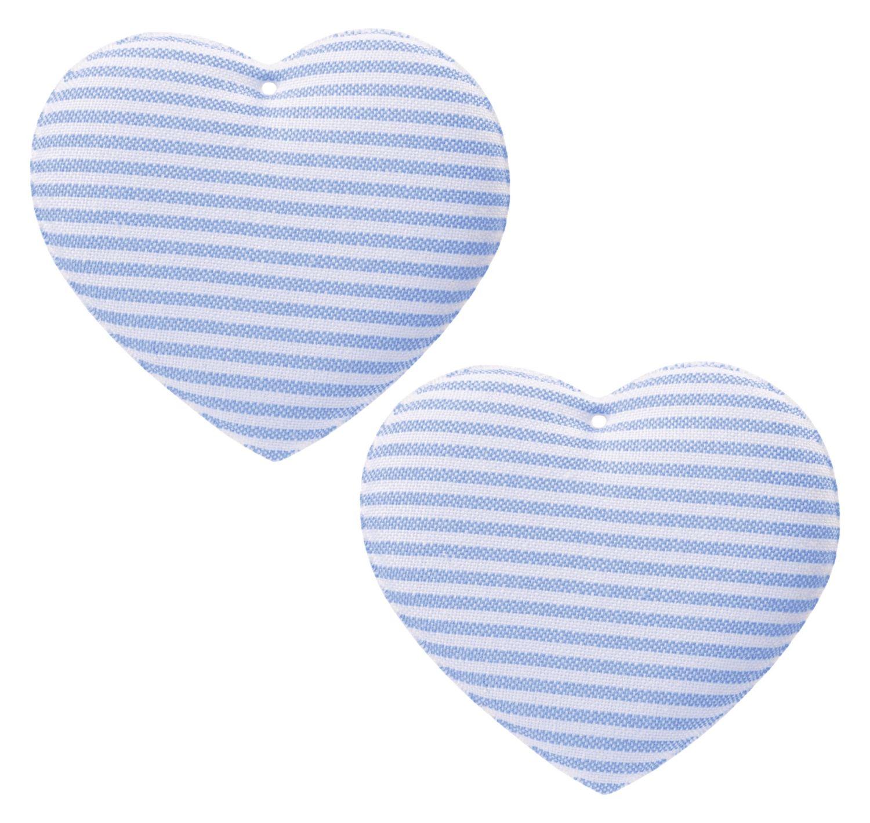 Stoff Herz Deko Anhänger Streifen Blau Weiß Baby Taufe Geburt Tischdeko Basteln Kinderzimmer