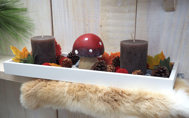 Tablett Herbst Herbstdeko Tischdeko Deko Kerze Pilz Fliegenpilz Rot Braun Holz Natur