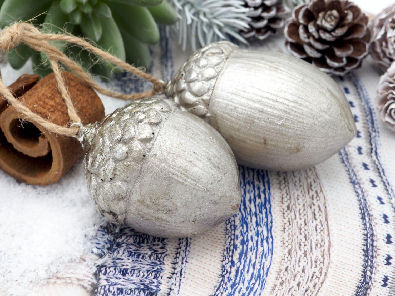 Deko Figur Eichel Silber Anhänger Christbaumschmuck Herbstdeko Weihnachtsdeko 2 Stück