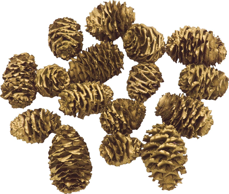 16 Zapfen Strictum Gold Deko Weihnachten Adventskranz Basteln Streudeko Tischdeko