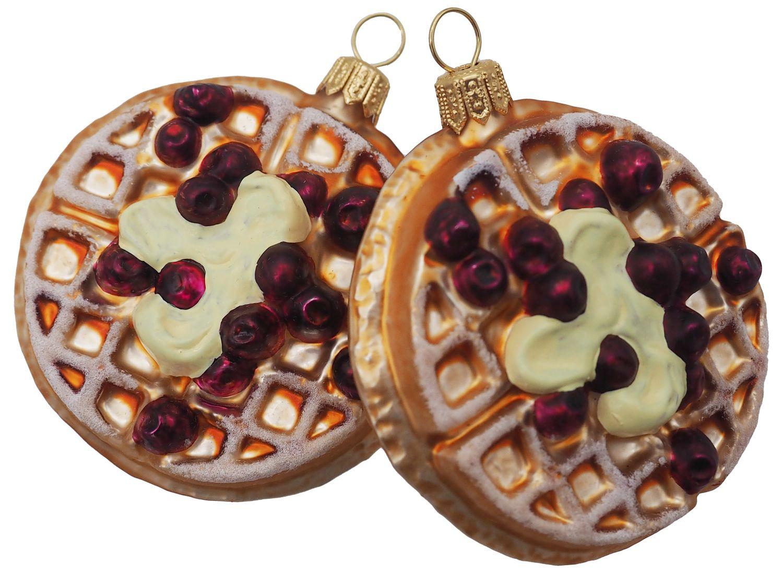 Christbaumschmuck Weihnachtsbaumschmuck Weihnachtsdeko Waffeln Cranberry Glas Weihnachten