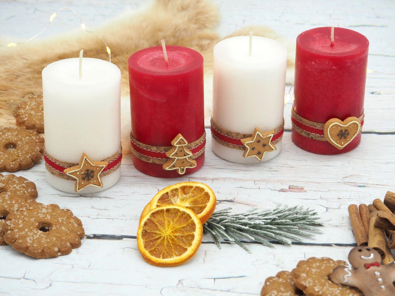 4 Adventskerzen Kerzen Stumpenkerzen Rot Creme Kekse Plätzchen Weihnachten Advent Deko Tischdeko