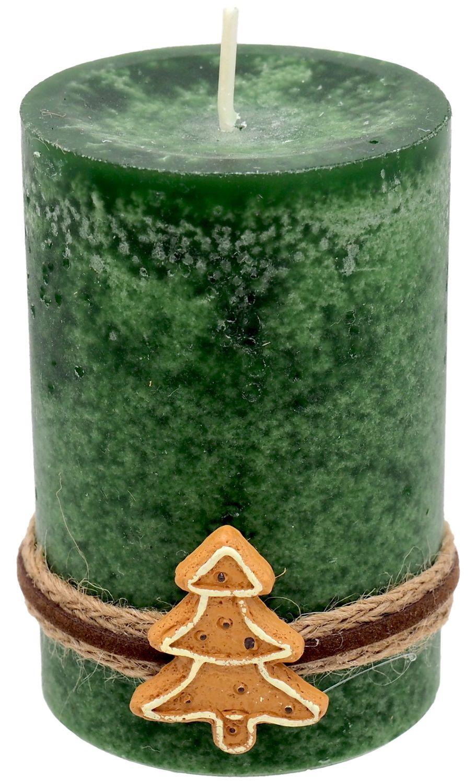4 Adventskerzen Kerzen Stumpenkerzen Grün Dunkelgrün Kekse Plätzchen Weihnachten Advent Deko Tischdeko