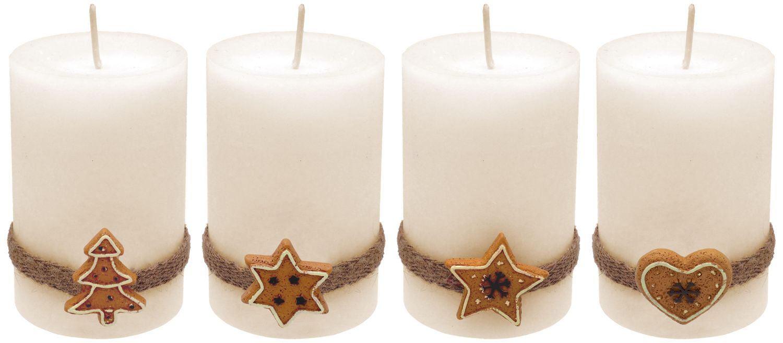 4 Adventskerzen Kerzen Stumpenkerzen Creme Kekse Plätzchen Weihnachten Advent Deko Tischdeko