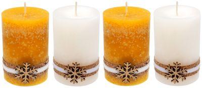 4 Adventskerzen Kerzen Stumpenkerzen Gelb Weiß Schneeflocke Holz Advent