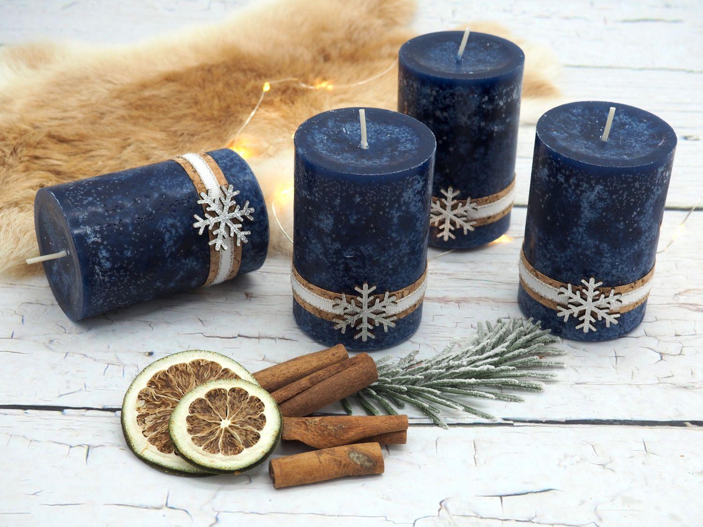 4 Adventskerzen Kerzen Stumpenkerzen Blau Dunkelblau Schneeflocke Holz Advent Weihnachten Deko Tischdeko