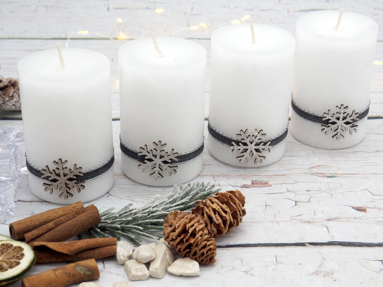 4 Adventskerzen Kerzen Stumpenkerzen Weiß Schneeflocke Holz Advent Weihnachten Deko Tischdeko