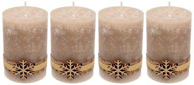 4 Adventskerzen Kerzen Stumpenkerzen Beige Schneeflocke Holz Advent Weihnachten