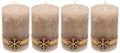 4 Adventskerzen Kerzen Stumpenkerzen Beige Schneeflocke Holz Advent Weihnachten Deko Tischdeko 1