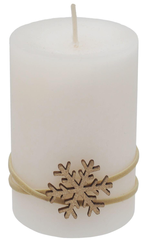 4 Adventskerzen Kerzen Stumpenkerzen Beere Beige Creme Schneeflocke Advent Weihnachten Deko Tischdeko