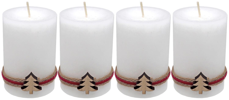 4 Adventskerzen Kerzen Stumpenkerzen Weiß Tannenbaum Holz Weihnachten Advent Deko Tischdeko