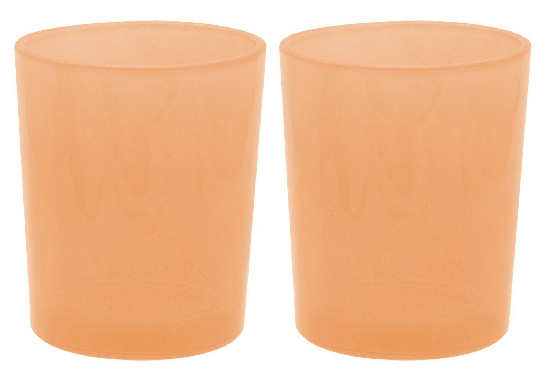 2 Teelichthalter Teelichtgläser Orange Tischdeko Deko Herbst Geburtstag Party