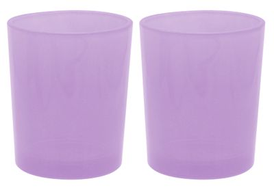 2 Teelichthalter Teelichtgläser Lila Flieder Tischdeko Deko Geburtstag Party