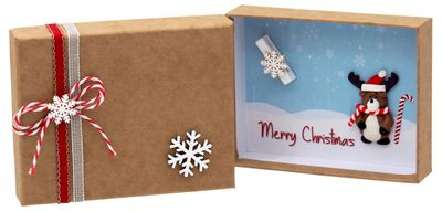 Geldgeschenk Verpackung Weihnachten XMAS Rentier Elch Zuckerstange Rot Natur Geschenk Gutschein