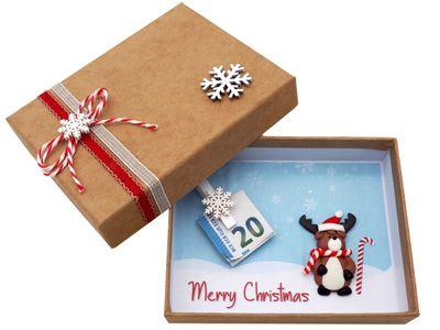 Geldgeschenk Verpackung Weihnachten XMAS Rentier Elch Zuckerstange Rot Natur