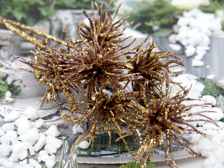 Zweig künstlich Kupfer Gold Glitzer Weihnachtsdeko Deko Basteln Weihnachten