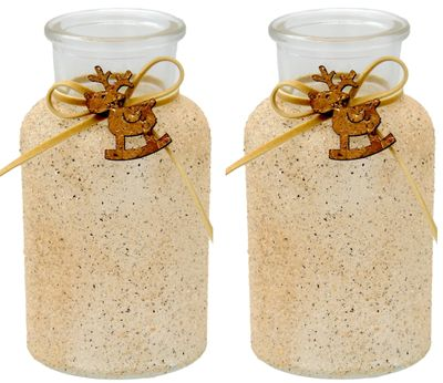 2 Vasen Tischdekoration Rentier Weihnachten Creme Sand Kork Weihnachtsdeko