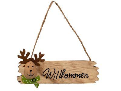 Schild Willkommen Anhänger Elch Holzschild Türdeko