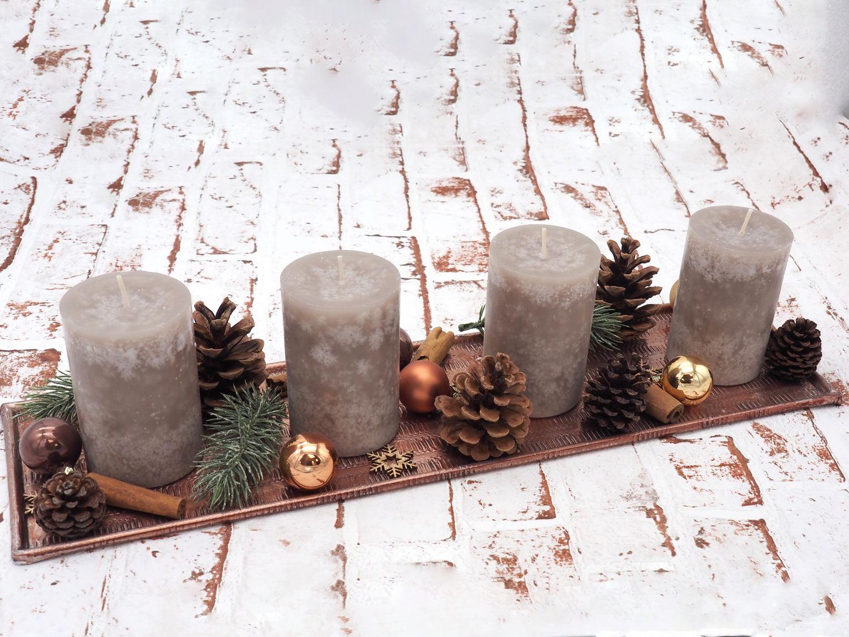 Adventsgesteck Weihnachten Weihnachtsdeko Tablett Kupfer Braun Deko