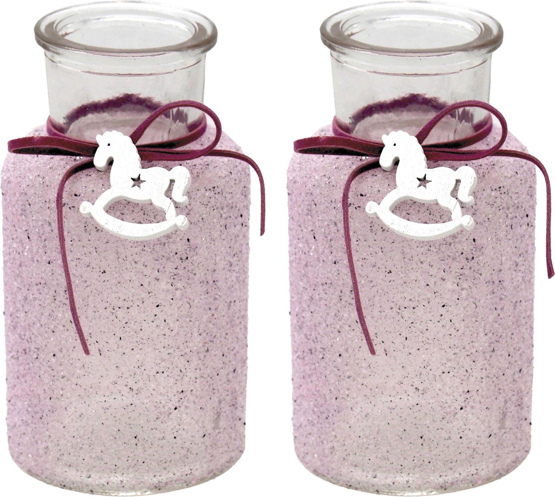 2 Vasen Mauve Beere Tischdekoration Taufe Baby Mädchen Deko Schaukelpferd