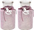 2 Vasen Mauve Beere Tischdekoration Taufe Baby Mädchen Deko Schaukelpferd 1