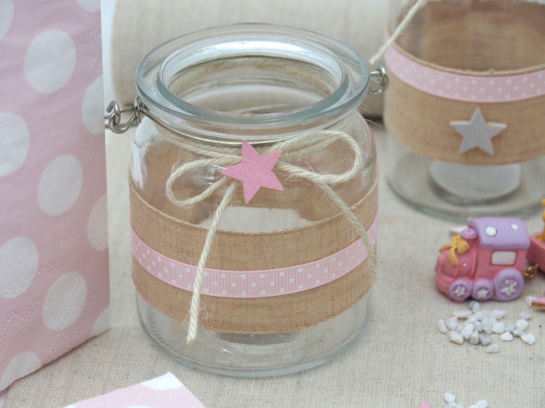 2 Windlichter Glas Tischdeko Kerzenhalter Rosa Stern Leinen Taufe Geburt Deko Teelichthalter