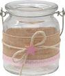 2 Windlichter Glas Tischdeko Kerzenhalter Rosa Stern Leinen Taufe Geburt Deko Teelichthalter 2