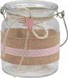 2 Windlichter Glas Tischdeko Kerzenhalter Rosa Stern Leinen Taufe Geburt Deko Teelichthalter 3