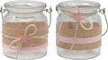 2 Windlichter Glas Tischdeko Kerzenhalter Rosa Stern Leinen Taufe Geburt Deko Teelichthalter 1