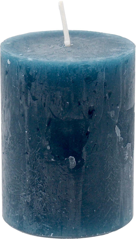 4 Rustic Stumpenkerzen Kerzen Blau Petrol Tischdeko Party Deko Adventskerzen